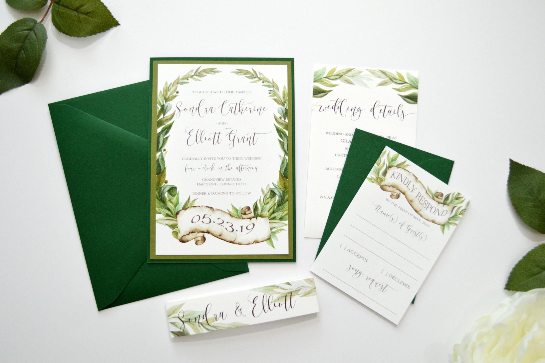 Green Wedding Invitations, Forest Wedding Invitations, Woodland ...