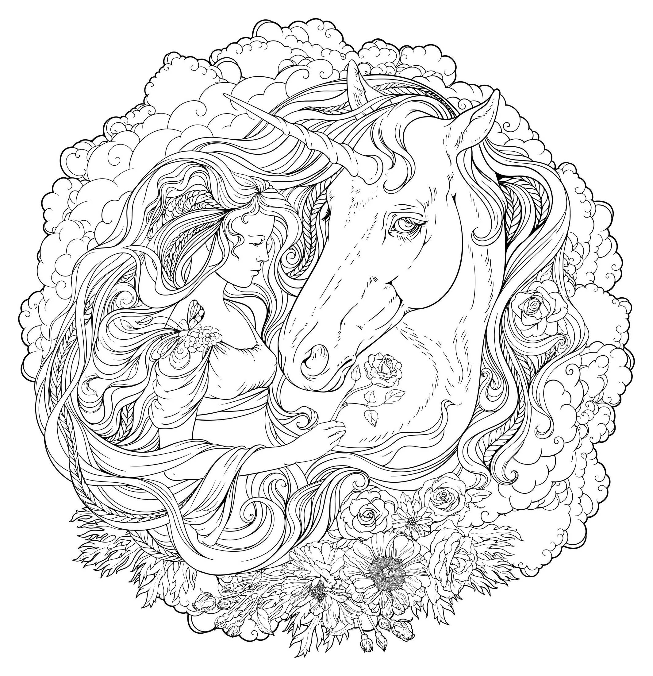Unicorn And Girl In Clouds Unicorns Coloring Pages For Adults
