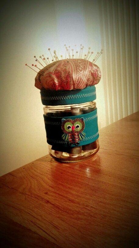 Nadelkissen aus einem Honigglas - van'mir