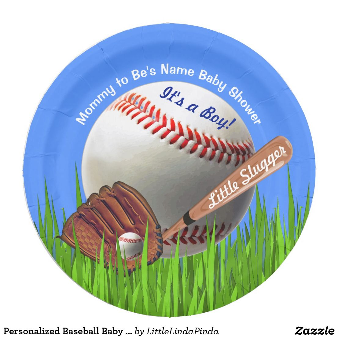 Personalized Baseball Baby Shower Paper Plates for Boys Baby Shower Ideas CLICK /  sc 1 st  Pinterest & Personalized Baseball Baby Shower Paper Plates