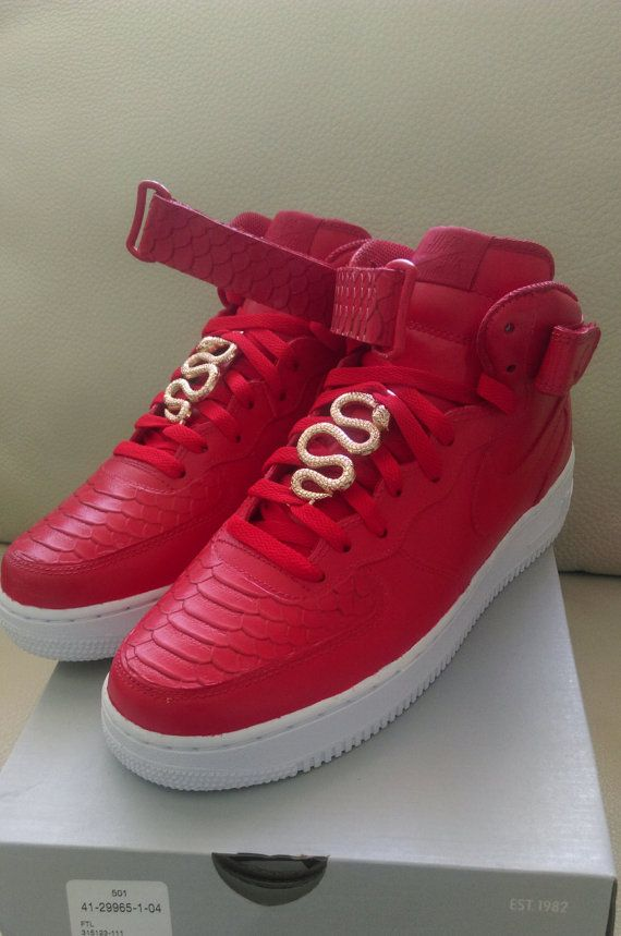 finest selection 5bc90 e0b94 Red Nike Air force one Red Python Custom by CustomsByYono on Etsy