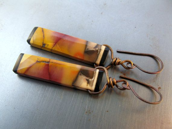 Mookaite Jasper Intarsia and Copper Earrings One of by Seaphemera