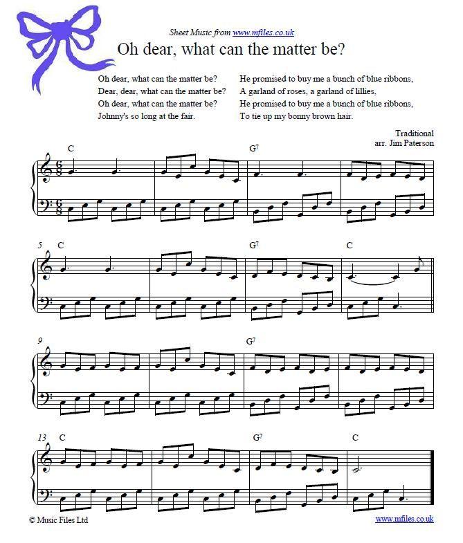 Lyric scarborough fair lyrics and sheet music : Oh Dear, What Can The Matter Be? - children's folk song | Music ...