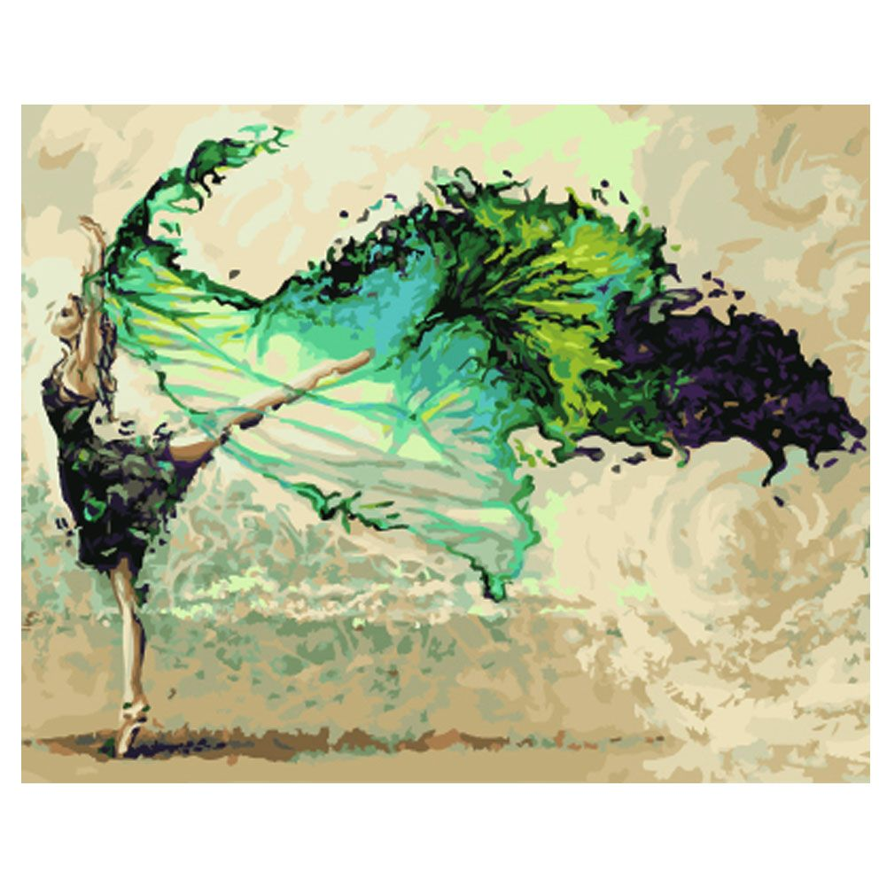40*50cm Frameless DIY Oil Painting Green Ink Flying Pictures Paint ...