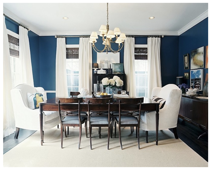 Colour Trend 2015 Cobalt Blues With Chalk White Linen Upholstery Dark Mahogany Polished Surfaces Blue Dining RoomsNavy