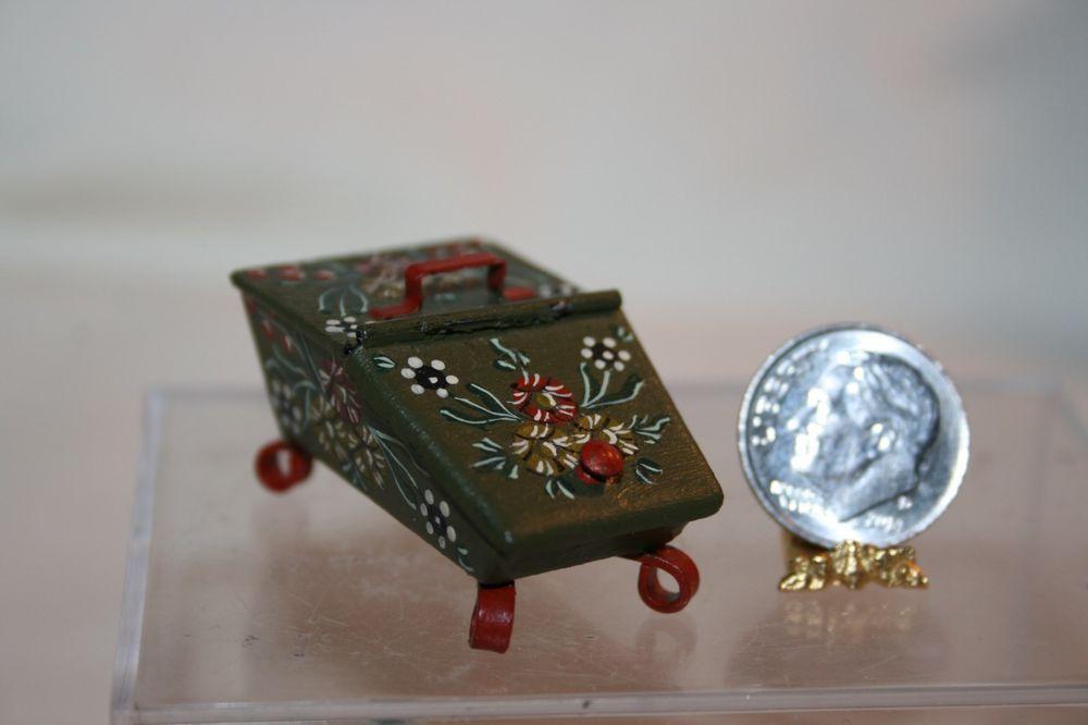 Miniature Dollhouse Wagon Mountain Studio Hindeloopen Art Wood Peat Box 1:12 NR #Artisan