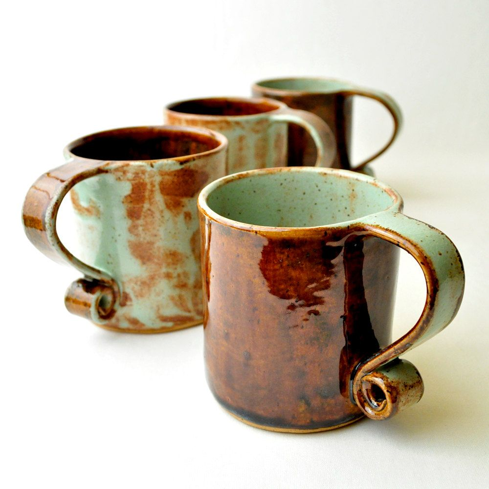 Ceramic teacups pistachio and brown scroll handle short