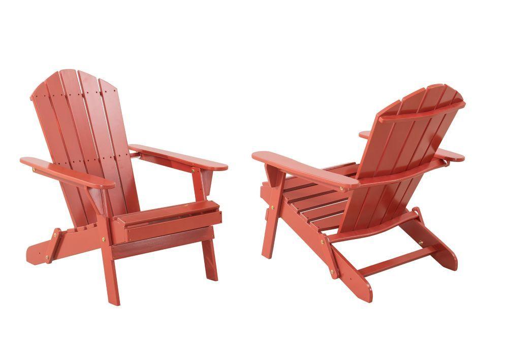 Classic Folding Wooden Muskoka Patio Chair In Black Set Of 2 In