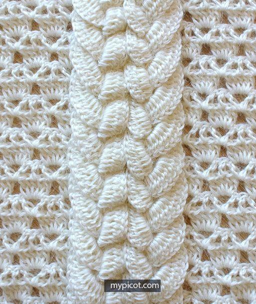 Crochet Wide Cable stitch MyPicot | Free crochet patterns | crochet ...