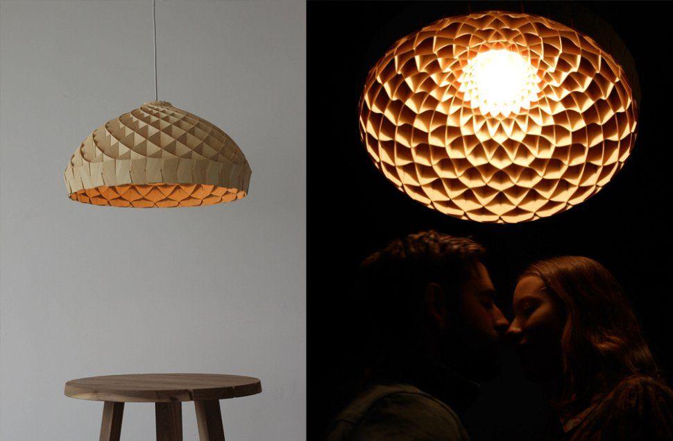 Woven Bamboo Veneer Pendant Lighting By Edward Linacre