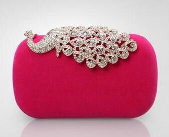 Alloy long rhinestone women bag clutch evening bags black/red/blue cosmetics case small purse bag for wedding/party/diner