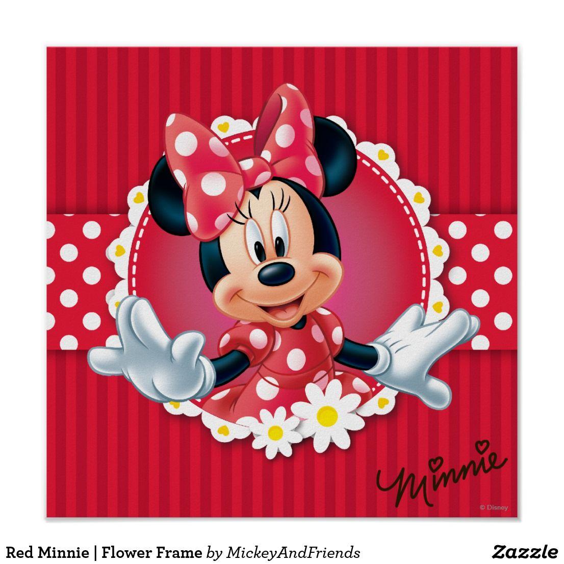 Red Minnie Flower Frame Poster Minnie