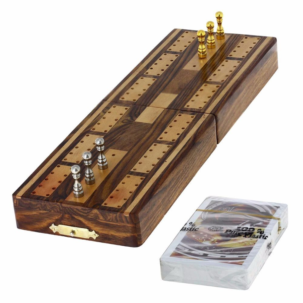 Game Cribbage Boards and Pegs Set with Storage Cribbage
