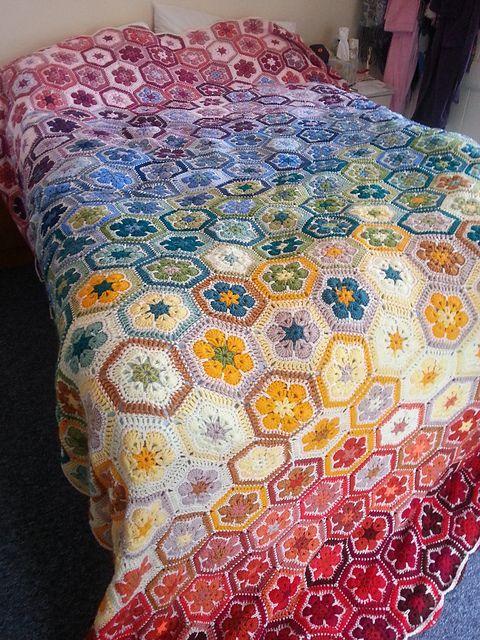 Easy African Flower Blanket Free Pattern Hexi Blanket