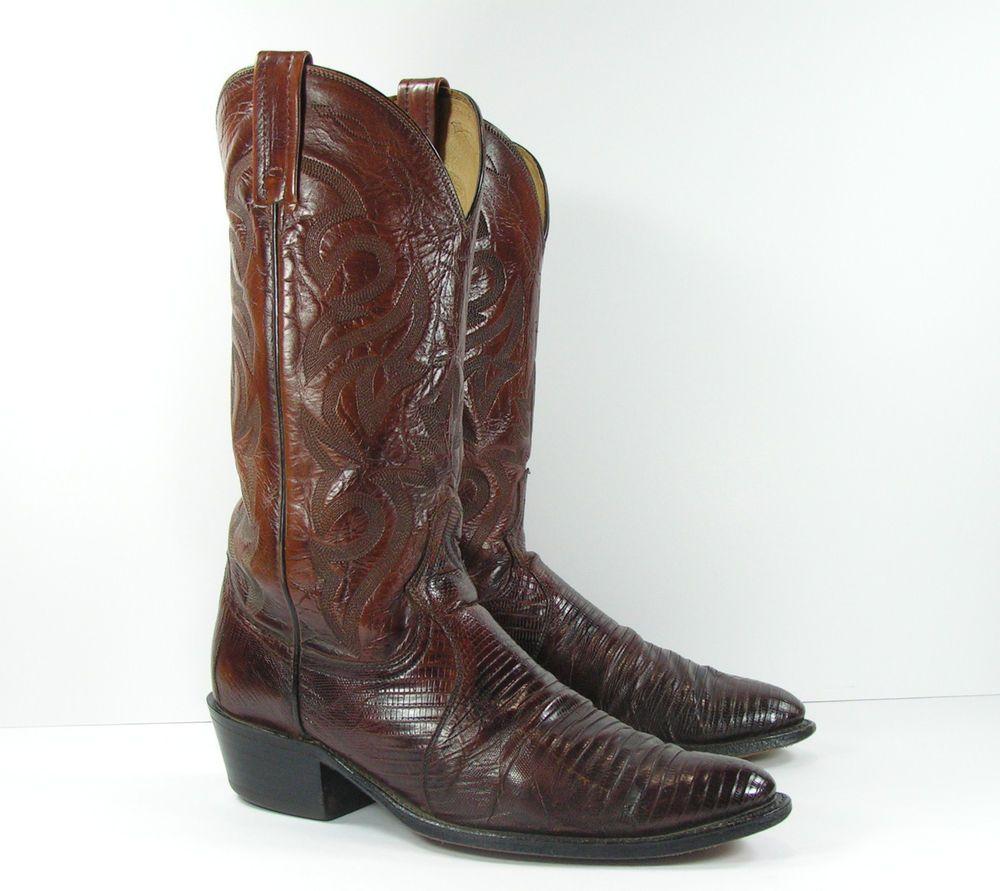 b4ee561ffc4 dan post lizard skin cowboy boots mens 10 D brown leather usa ...