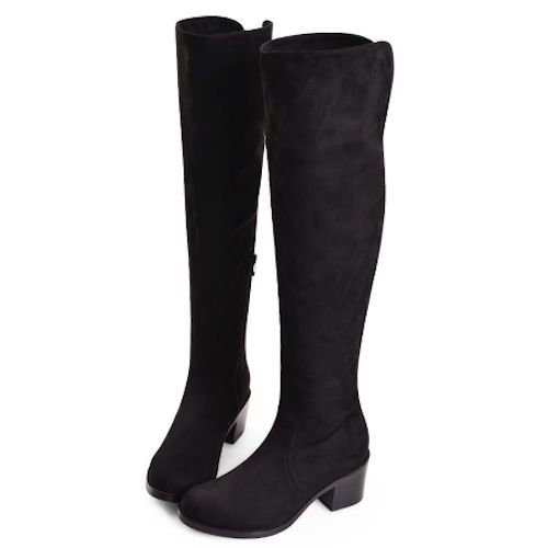 Women Black Suede Knee High Low Heel Dress Riding Boots SKU-143115 ...