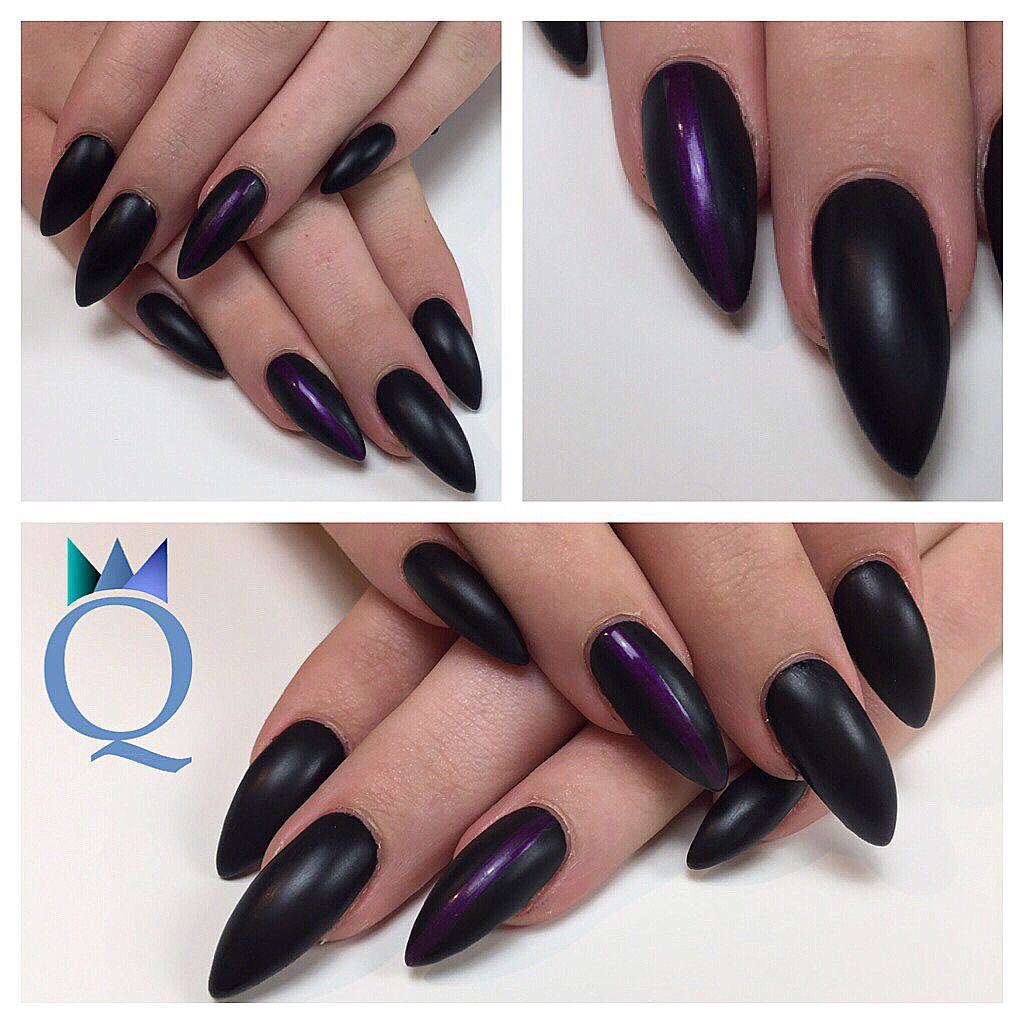 stilettonails gelnails nails black mat purple stripes stiletton gel geln gel n gel