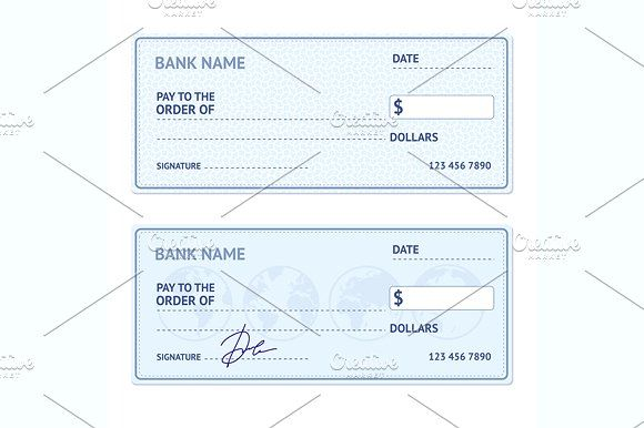 Bank Check Template Set Vector By Stacy On Creativemarket