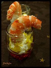 Verrines de crevette et mangue à lindienne