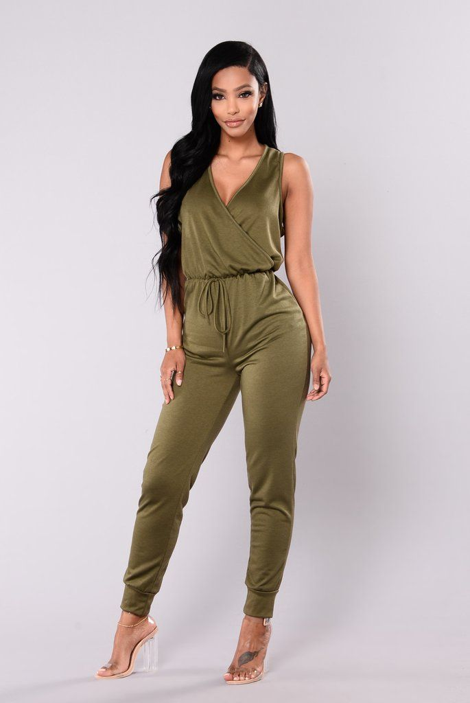 063905b00cff3 Tough Chick Surplice Jumpsuit - Olive