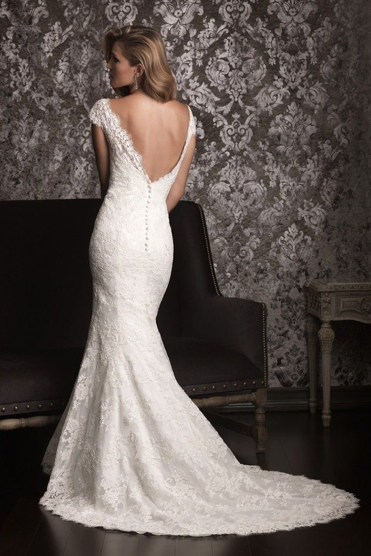 2013 Wedding Dresses A Line Trumpet/Mermaid Scoop Court Train With Lace SPPQZHXQLS - StunningPromDresses.com for mobile