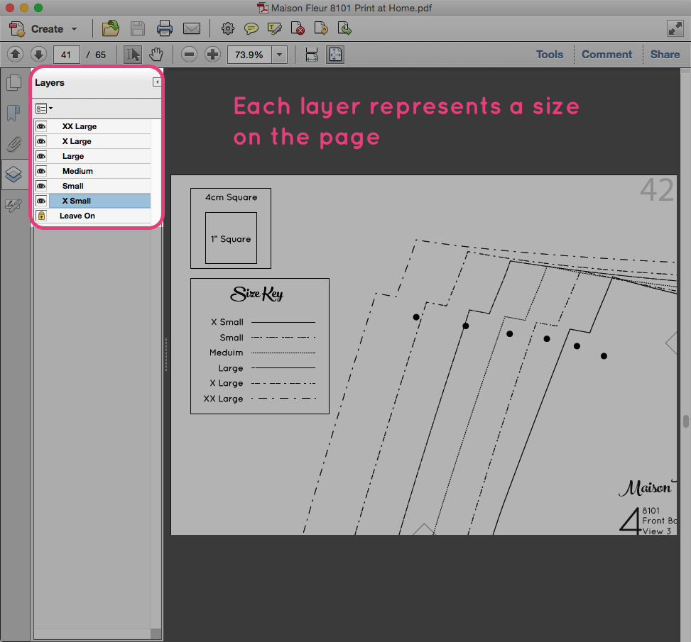 Printing specific sizes for Maison Fleur Patterns PDF in adobe reader