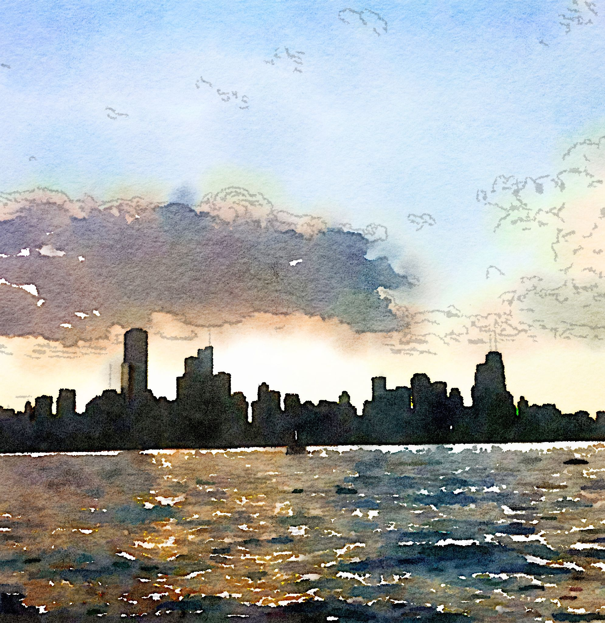 Chicago skyline watercolor city art chicago painting