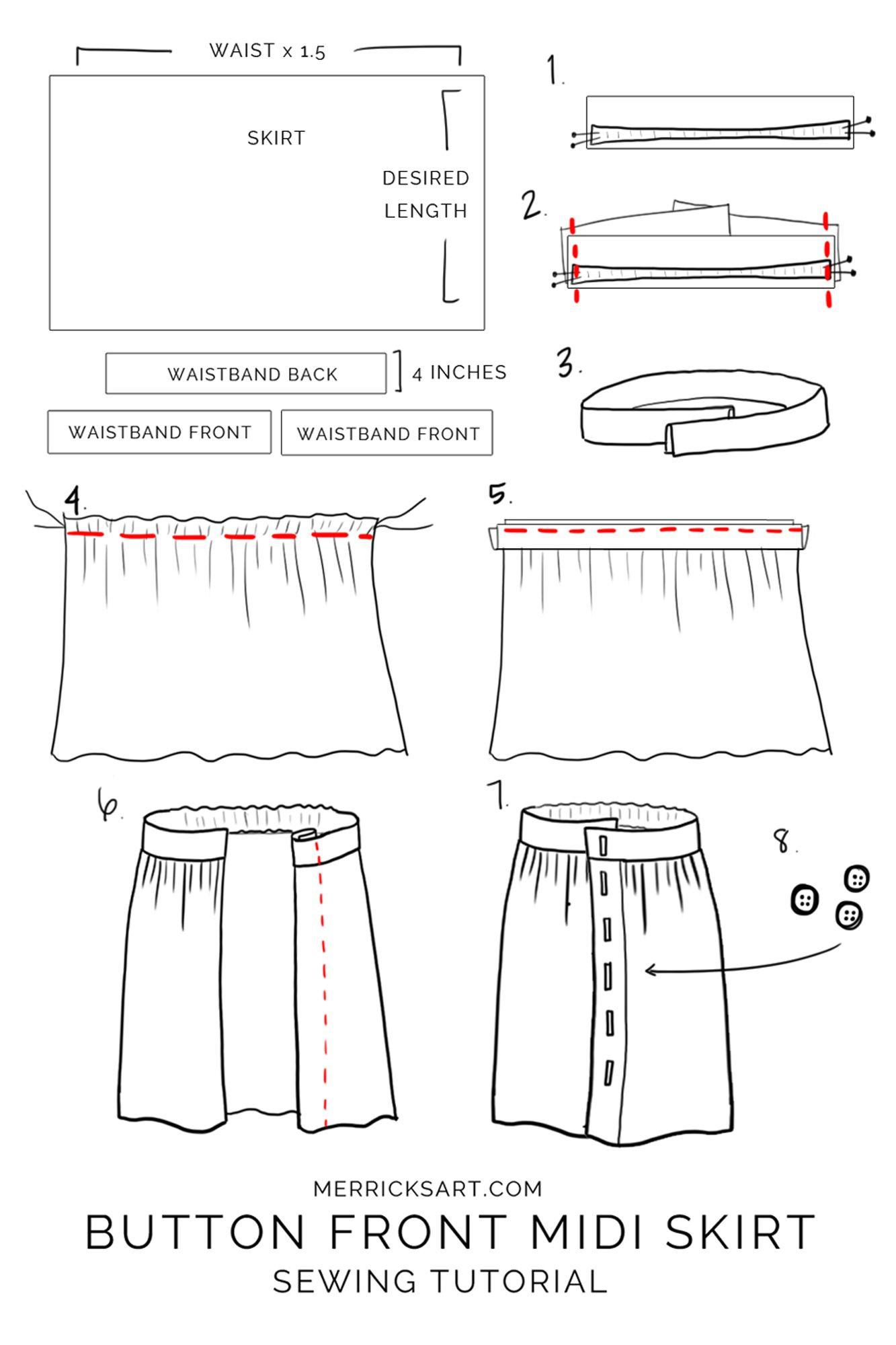 How to Make a Button Front Midi Skirt   skirt   Skirt ...