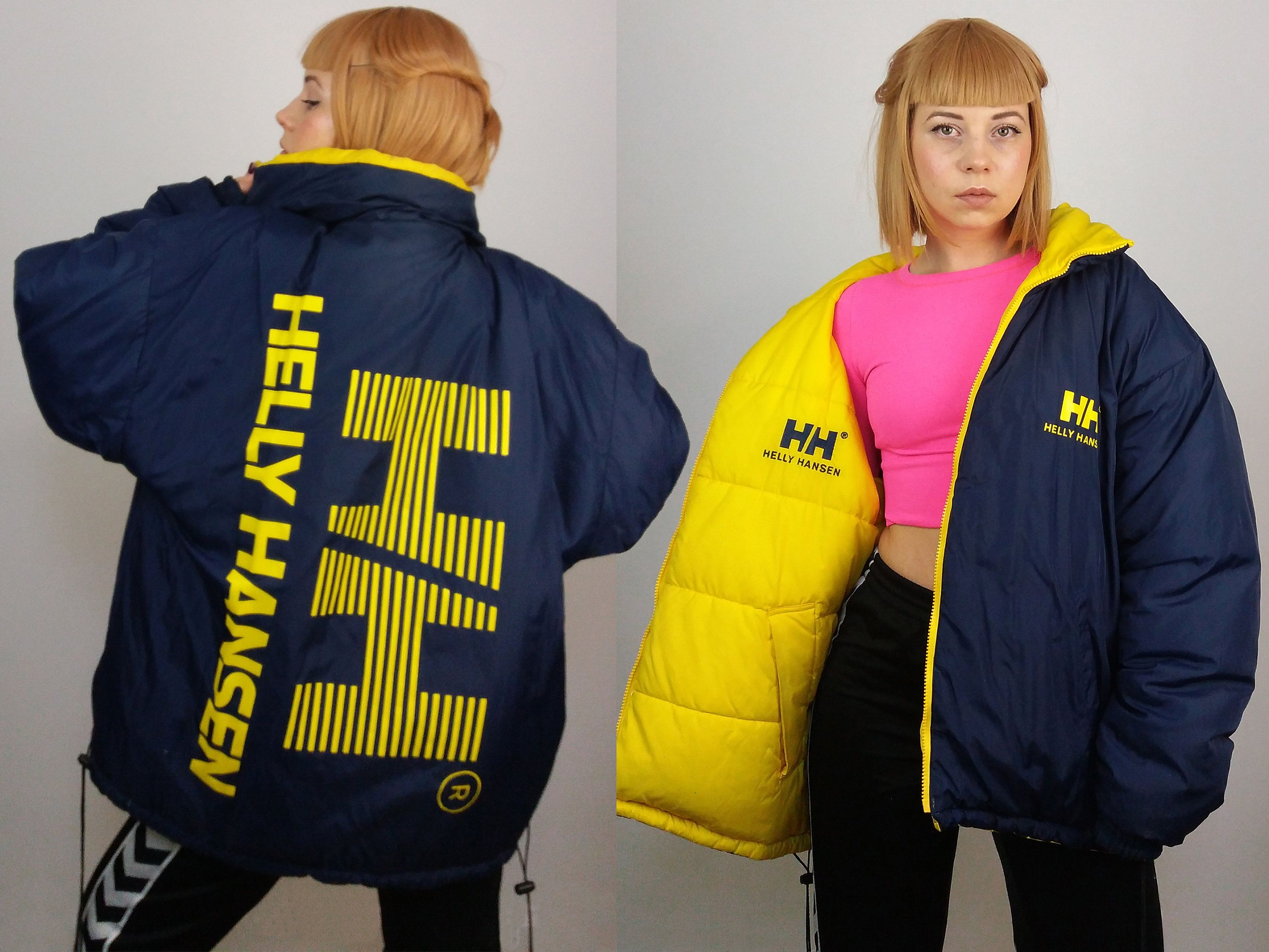 9b10e66f9 HELLY HANSEN Vintage 90's Iconic Hip Hop Puffer Oversize Reversible ...