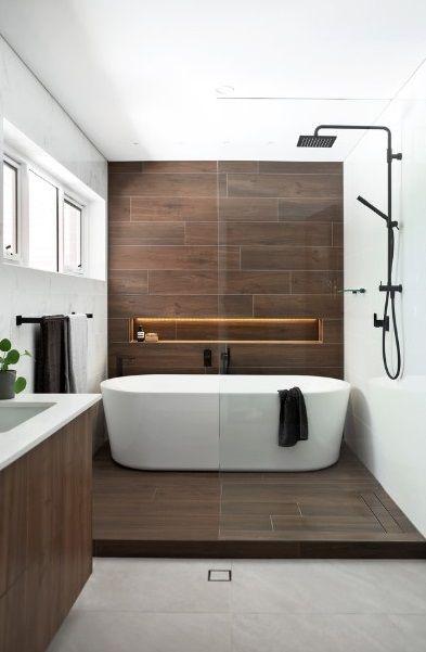 shower in bath area  modern bathroom wood bathroom
