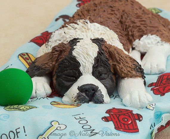 St Bernard Dog Figurine Polymer Clay Dog Sculpture Saint Bernard Dog Lovers Gift Dog Art Puppy Art