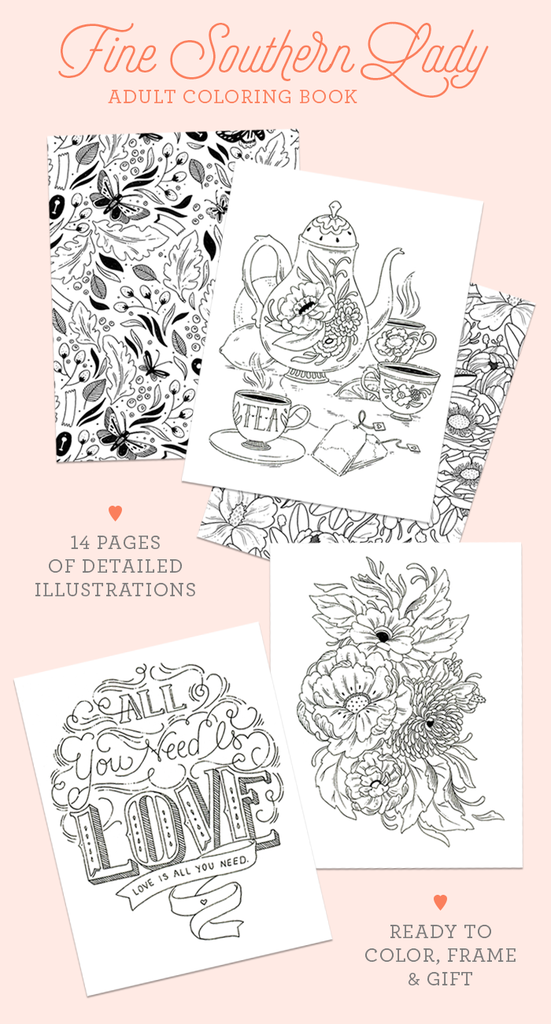 PRE-SALE - Fine Southern Lady Adult Coloring Book by Paper Raven Co ...