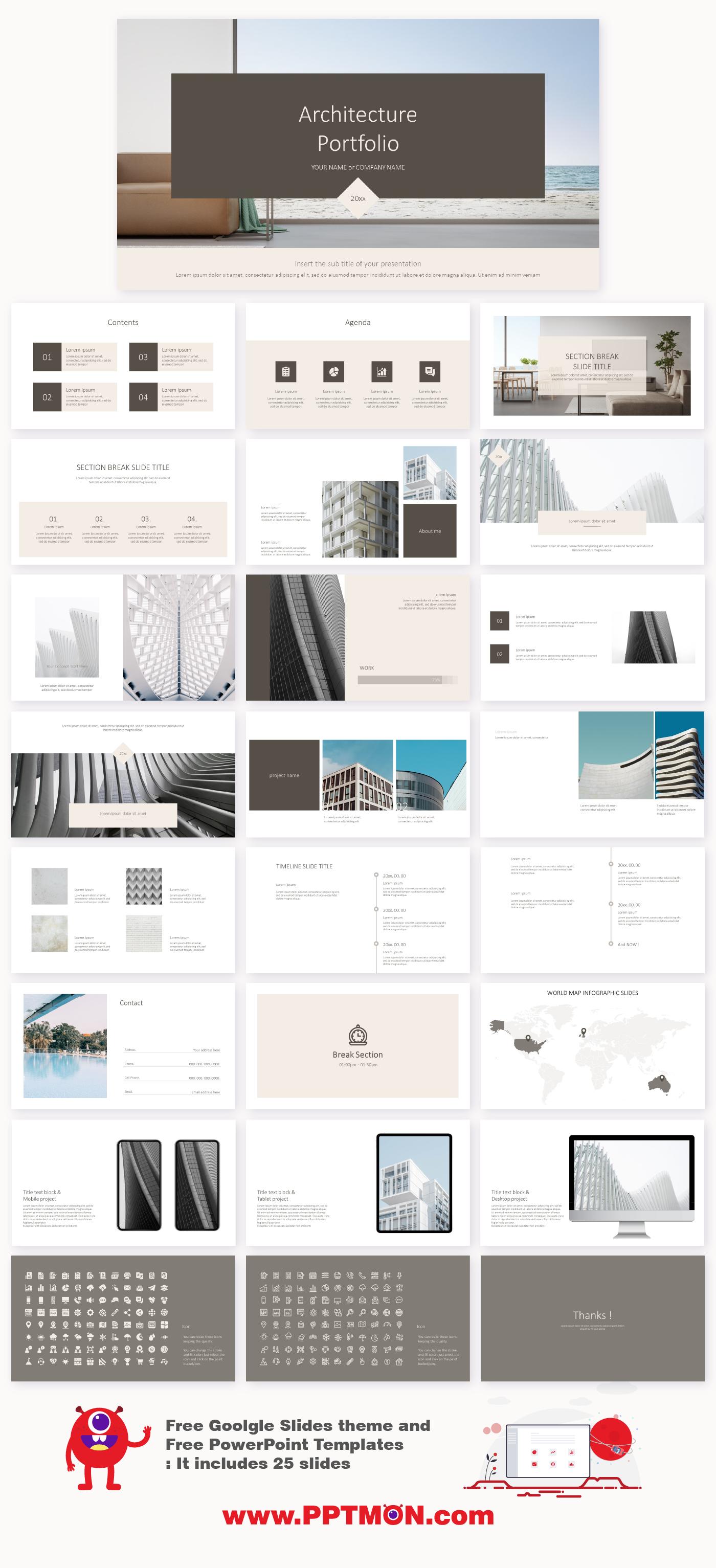 Minimal Architecture Portfolio Presentation – Free PowerPoint ...