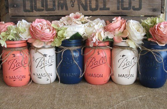 6 Pint Mason Jars, Painted Mason Jars, Flower Vases, Rustic Wedding Centerpieces, Navy Blue, Dark Coral And Creme Mason Jars