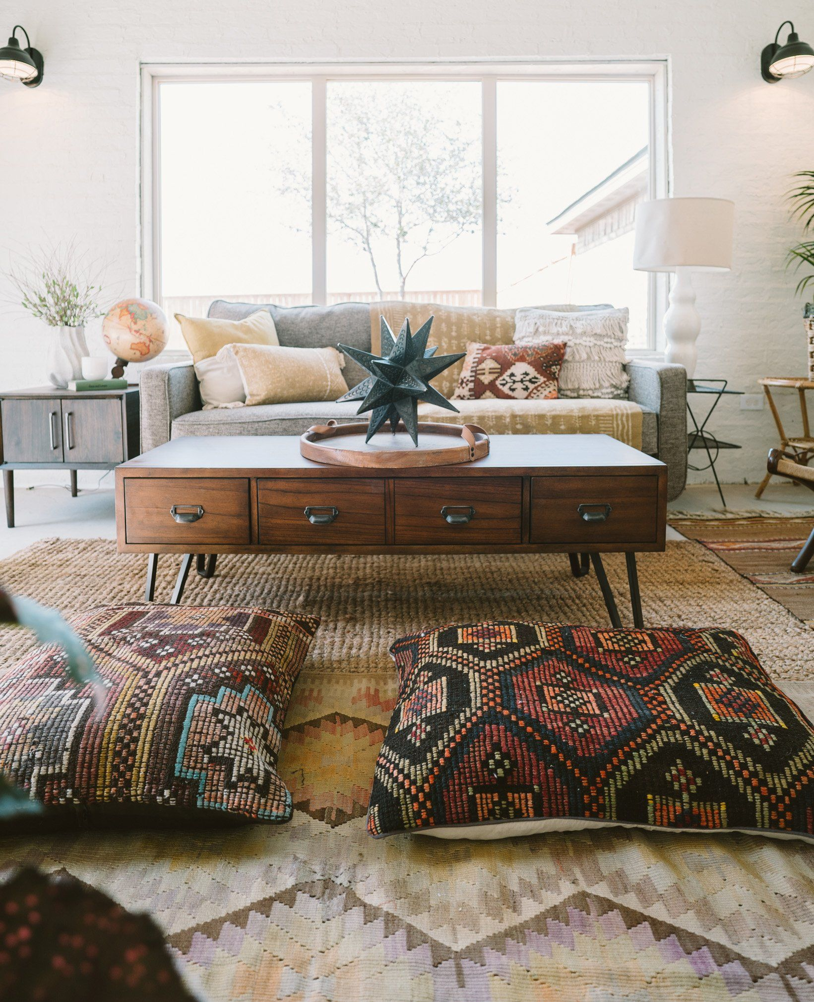 Vintage Turkish Kilim Floor Pillow Cover  Modern bohemian living