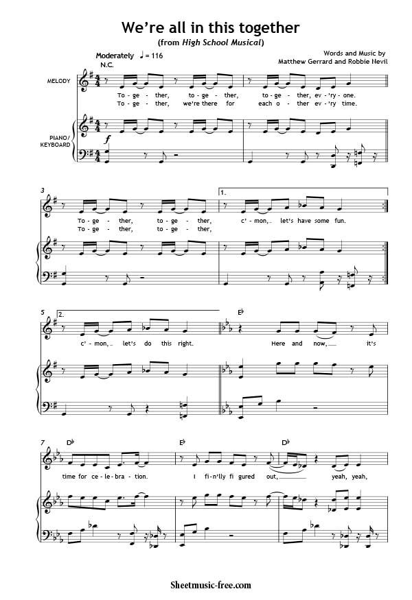 We're All In This Together Sheet Music High School Musical ...