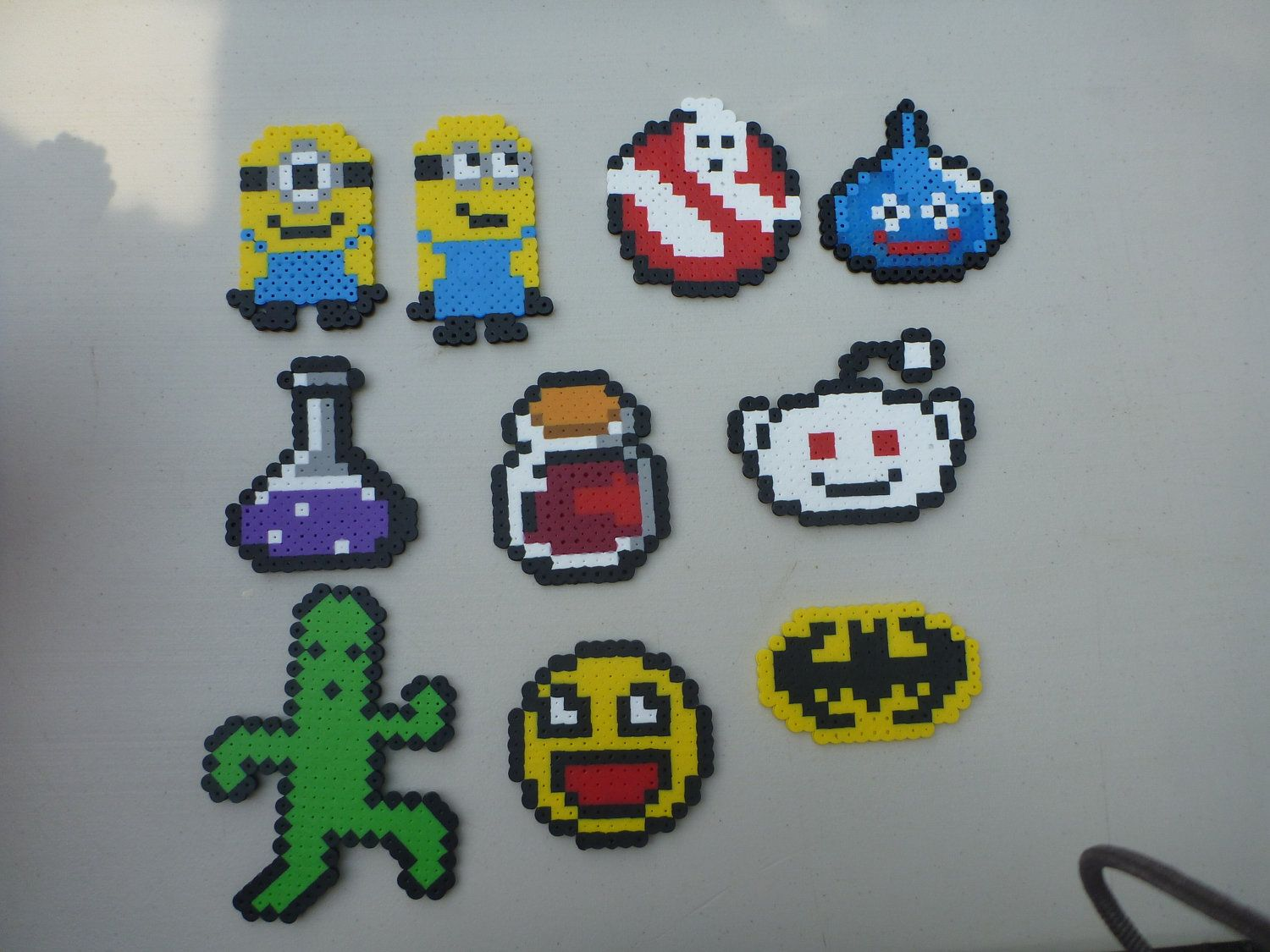 small perler bead sprites minions potions batman and more via etsy other people. Black Bedroom Furniture Sets. Home Design Ideas