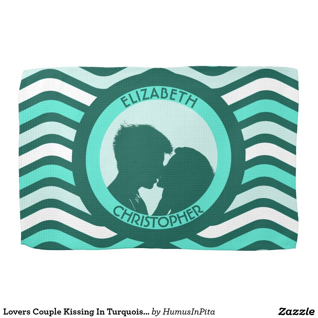 Lovers Couple Kissing In Turquoise Circles Towels