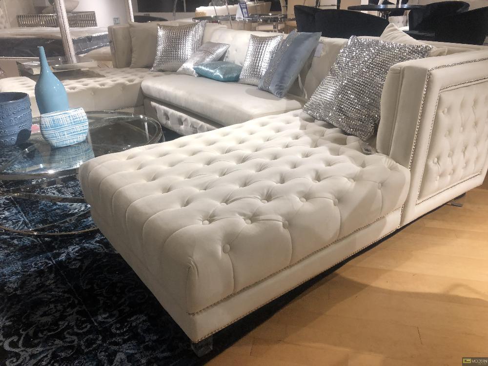 3pc blue velvet sectional sofa double