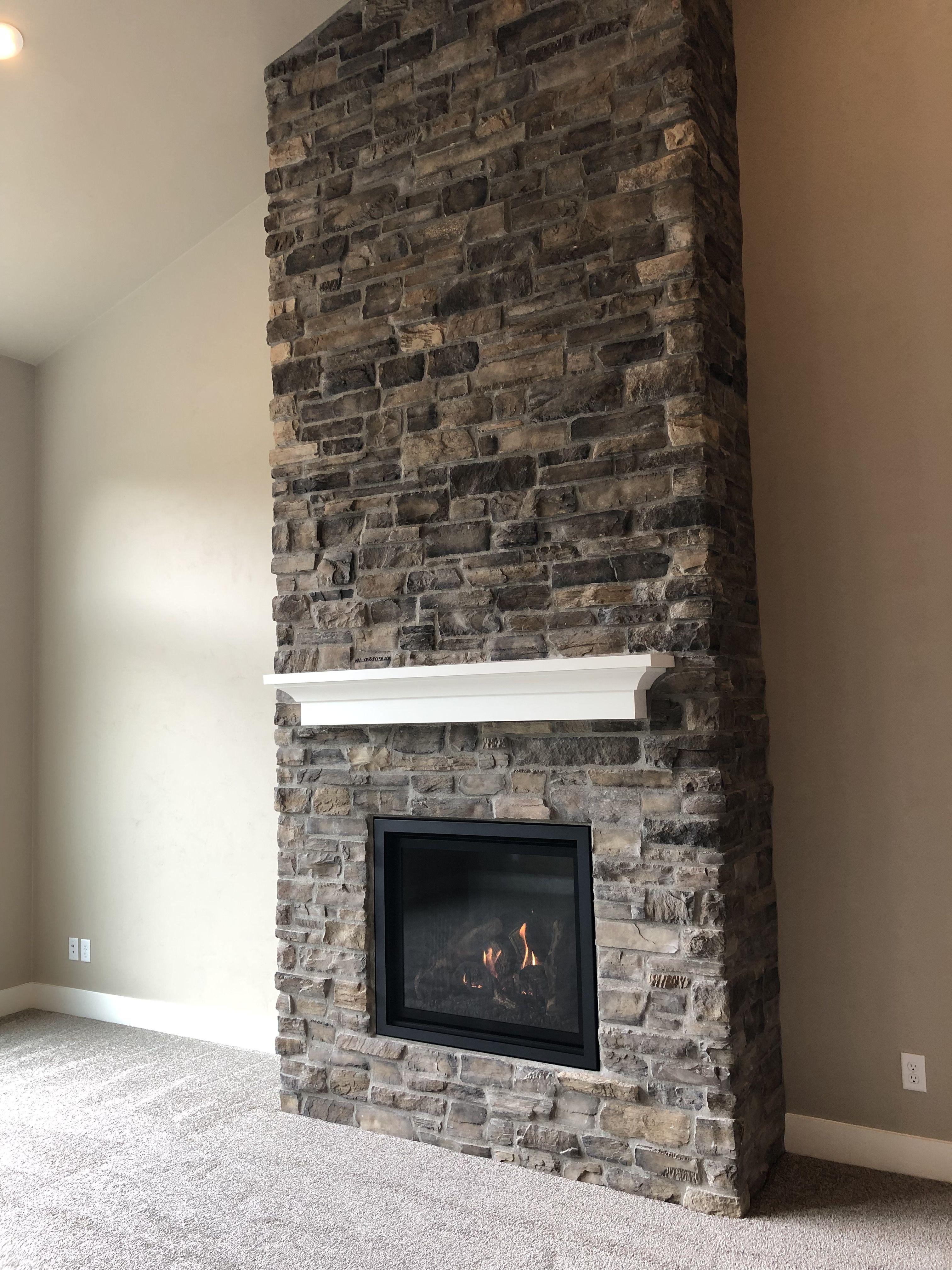 Gas fireplace with eldorado cliffstone montecito cultured