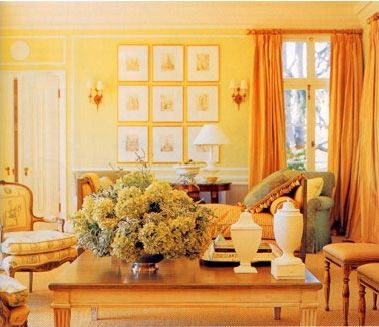analogous. the pairing of the yellow walls, with the orange