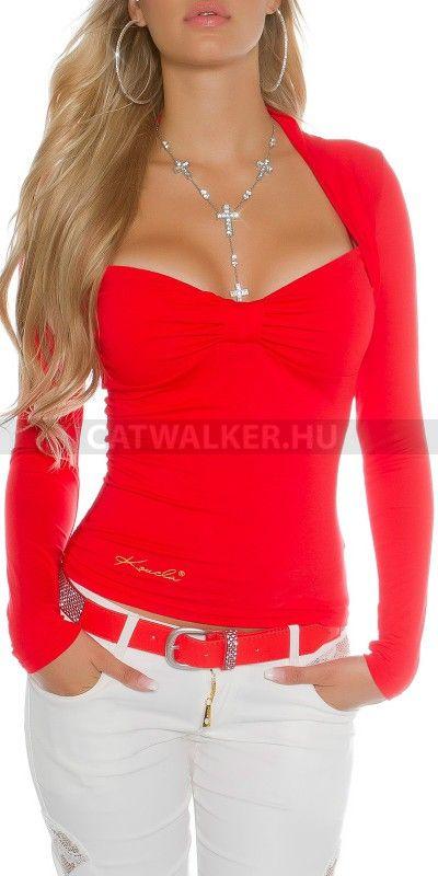 7cd00c8079 Női felső hátán csipkés - piros | style | Tops, Blouse és Sleeves