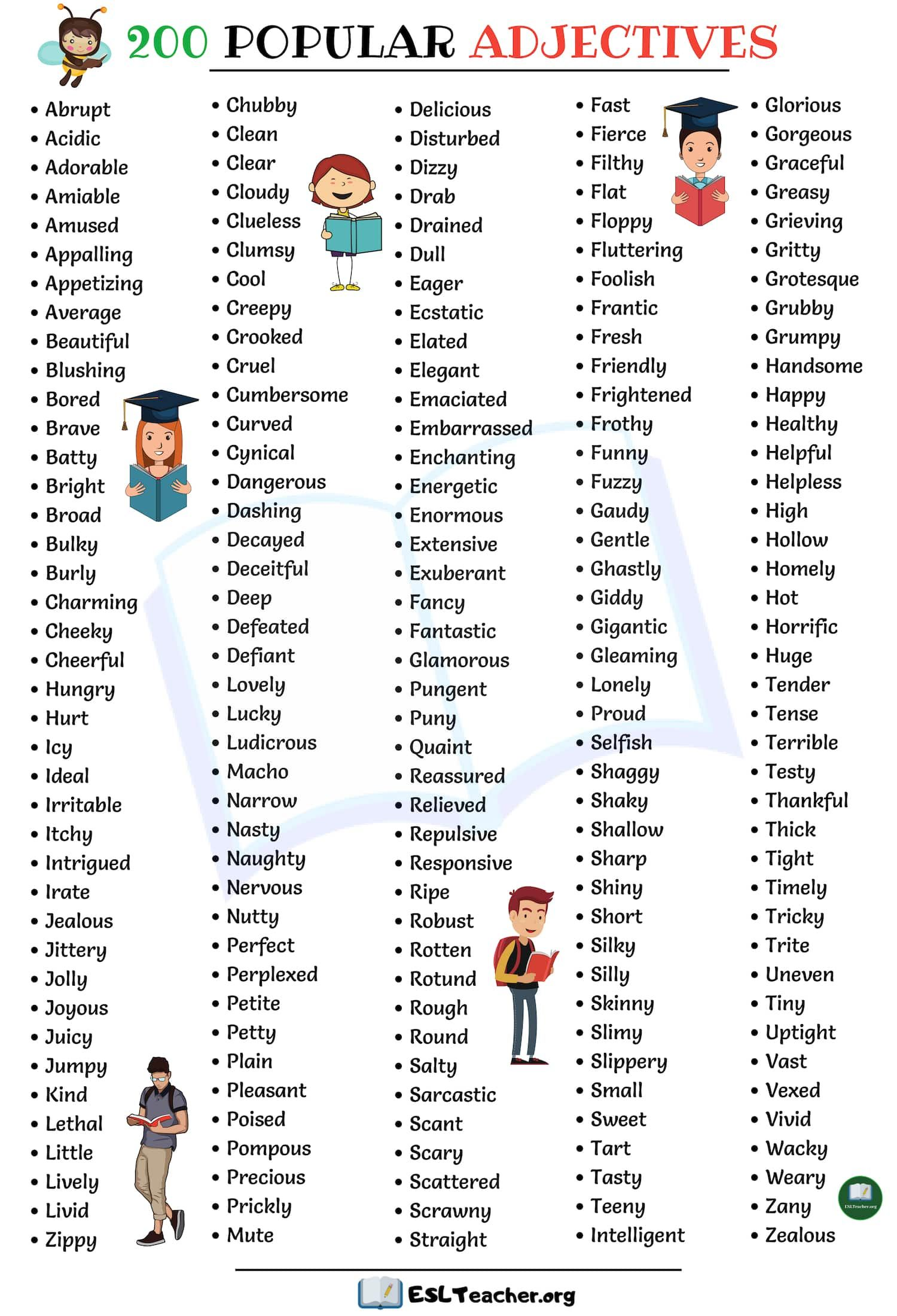 List Of Adjectives 200 Popular Adjectives In English