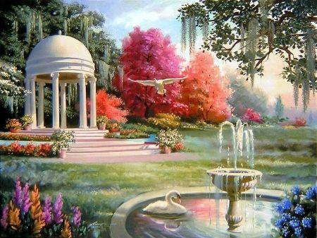 Swan Pavilion Desktop Nexus Wallpapers Fantasy Art Landscapes Fantasy Decor Beautiful Art