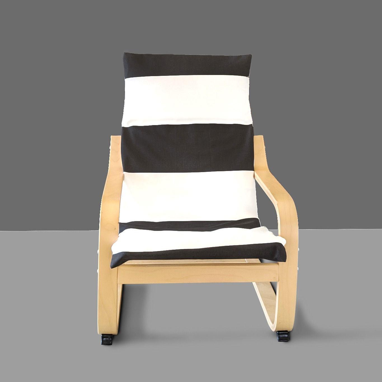 Wide Black White Stripe Ikea Kids Poang Cushion Slip Cover In 2020