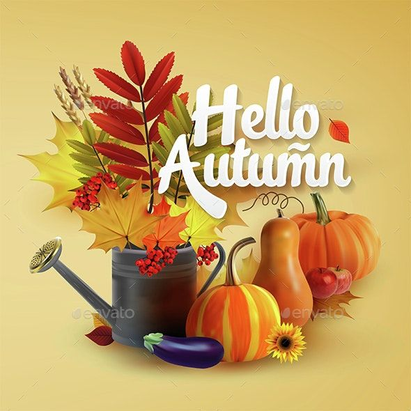 Hello Autumn Typographical Background #helloautumn