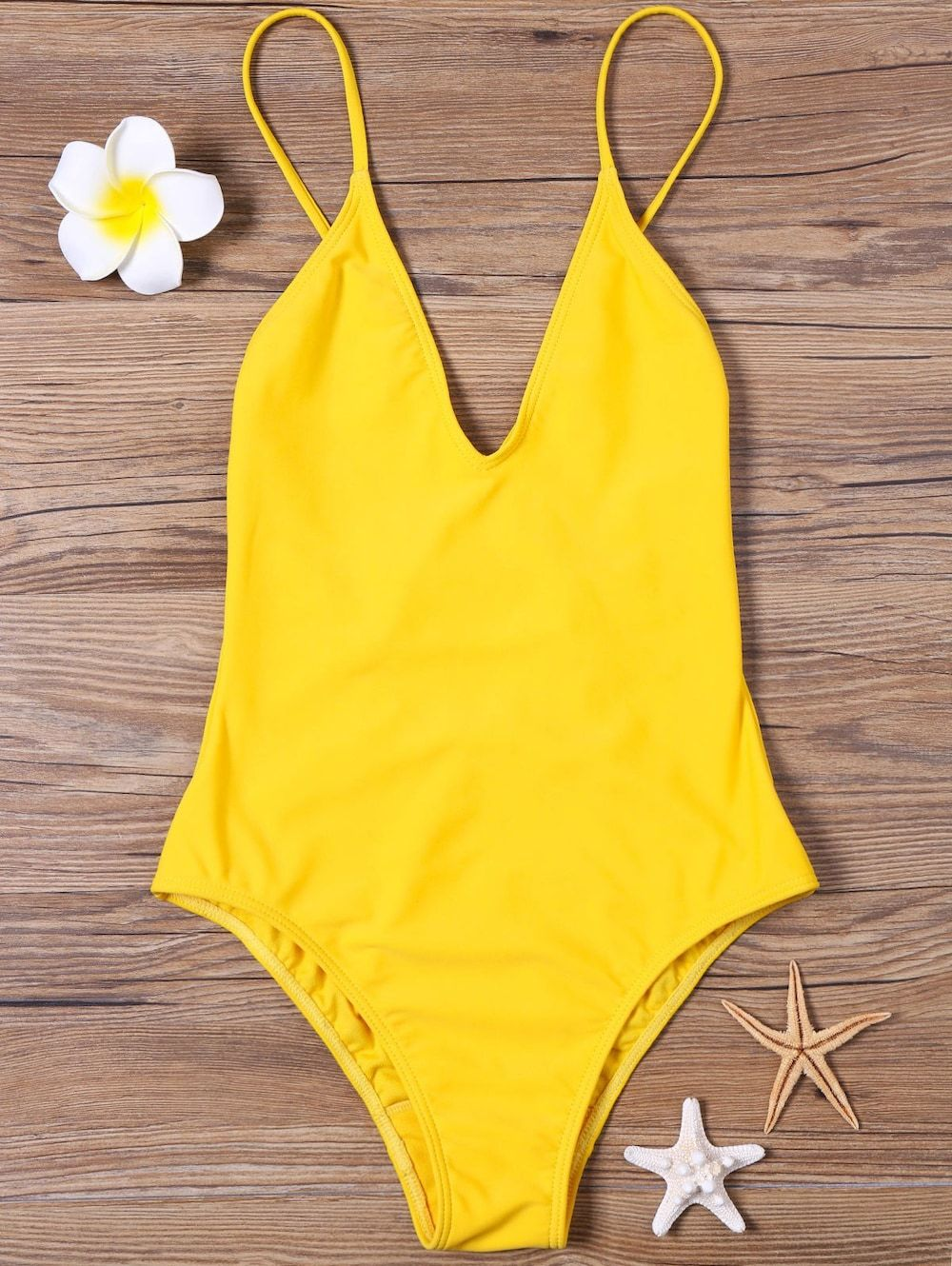 Open Back High Cut One-piece Swimsuit - YELLOW 2XL  d05c1bf34ad7