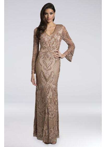 68347c0283 Lara Amanda Beaded Mesh Mermaid Gown Style 29910, Rose Gold, 4 ...