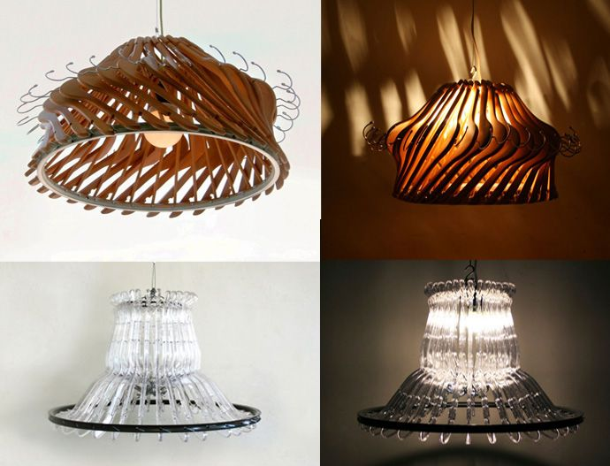 Recycle Creative Lamp Using Wood Or Plastic Clothes Hangers Recycled Home Decor Creative Lamp Shades Diy Lamp