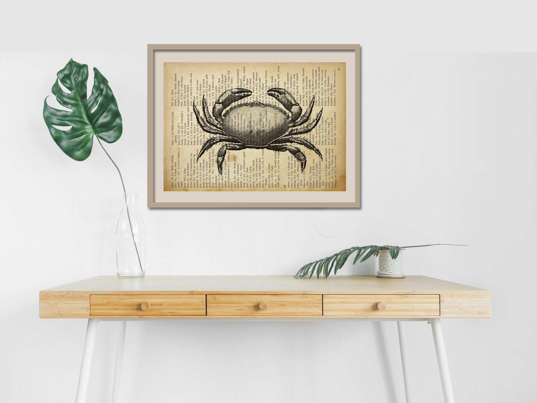 Buchseiten Bild Krabbe | Bookpage Design, Print On Bookpage, Download druckbar (printable) Wohnzimmer Home Decor Wallart Bild Gemälde Poster von PrintfulPoetry auf Etsy
